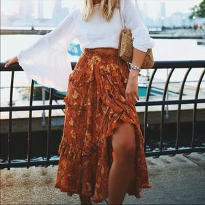 Boho Floral Ruffle Maxi Skirt Gypsy Print Orange